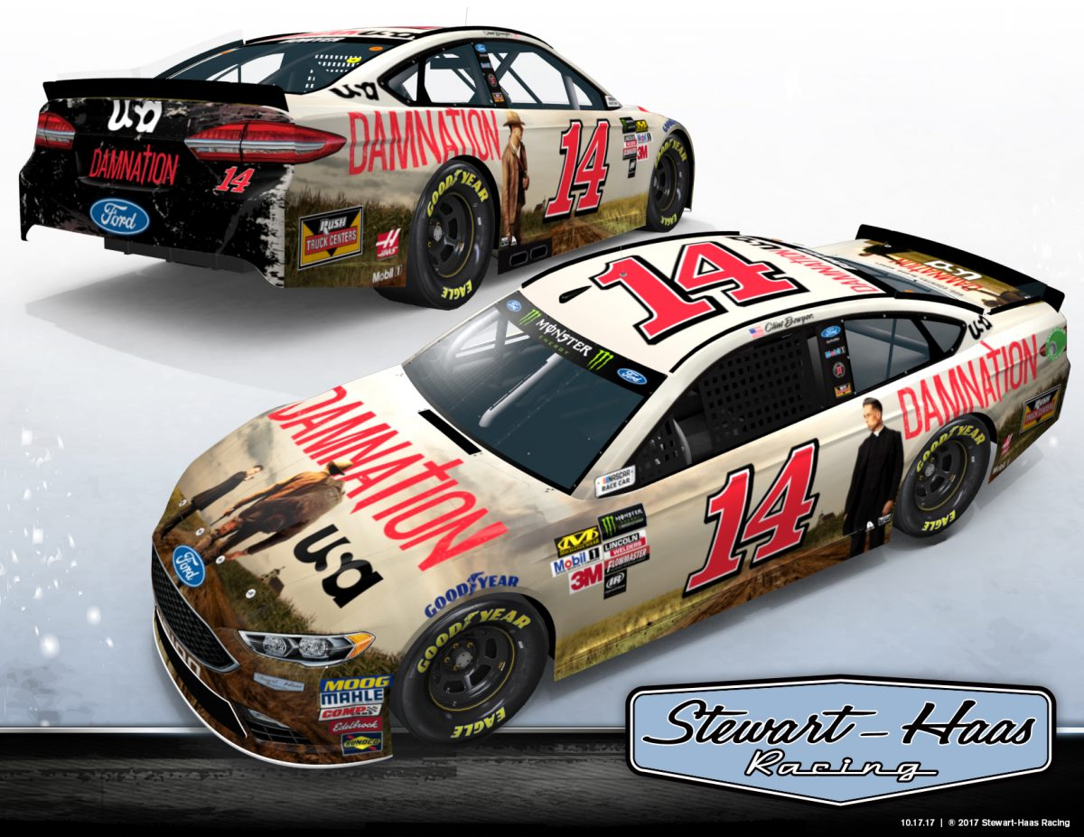 Clint Bowyer's No. 14 Ford Fusion to Feature New USA Network Drama 'DAMNATION' at Phoenix